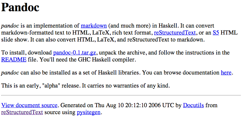 Pandoc for Haskell Hackers